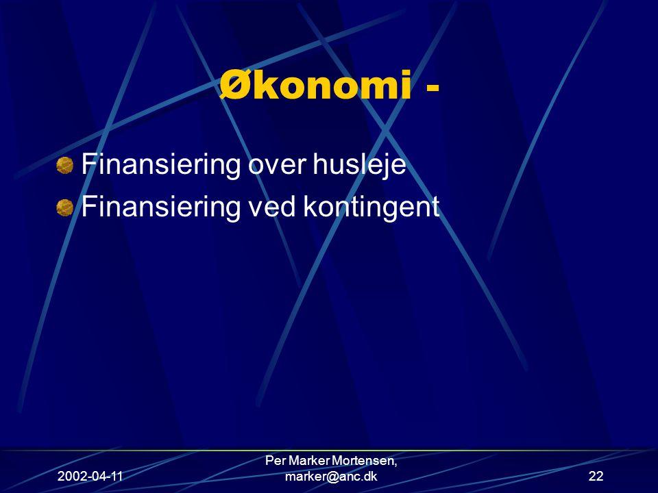 2002-04-11 Per Marker Mortensen, marker@anc.dk22 Økonomi - Finansiering over husleje Finansiering ved kontingent