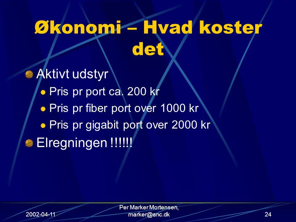 2002-04-11 Per Marker Mortensen, marker@anc.dk24 Økonomi – Hvad koster det Aktivt udstyr Pris pr port ca.