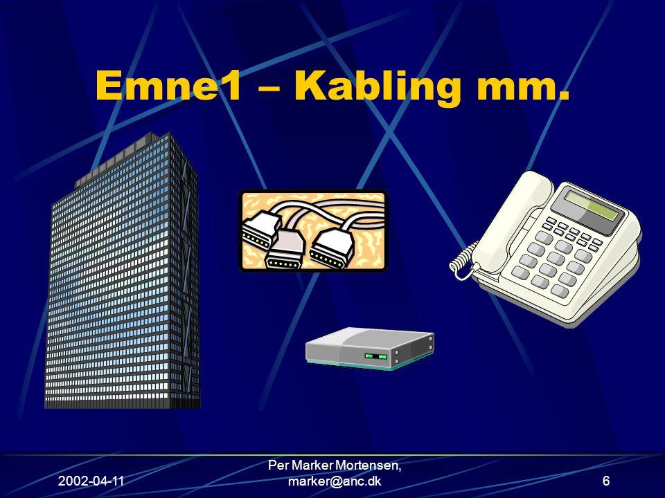2002-04-11 Per Marker Mortensen, marker@anc.dk6 Emne1 – Kabling mm.