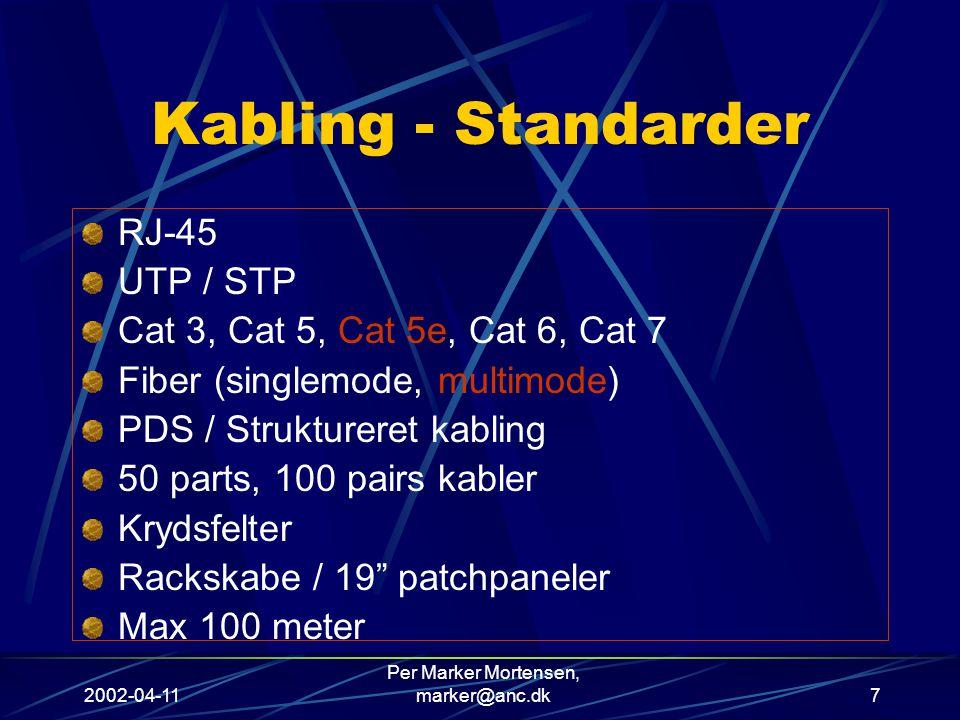 2002-04-11 Per Marker Mortensen, marker@anc.dk7 Kabling - Standarder RJ-45 UTP / STP Cat 3, Cat 5, Cat 5e, Cat 6, Cat 7 Fiber (singlemode, multimode) PDS / Struktureret kabling 50 parts, 100 pairs kabler Krydsfelter Rackskabe / 19 patchpaneler Max 100 meter