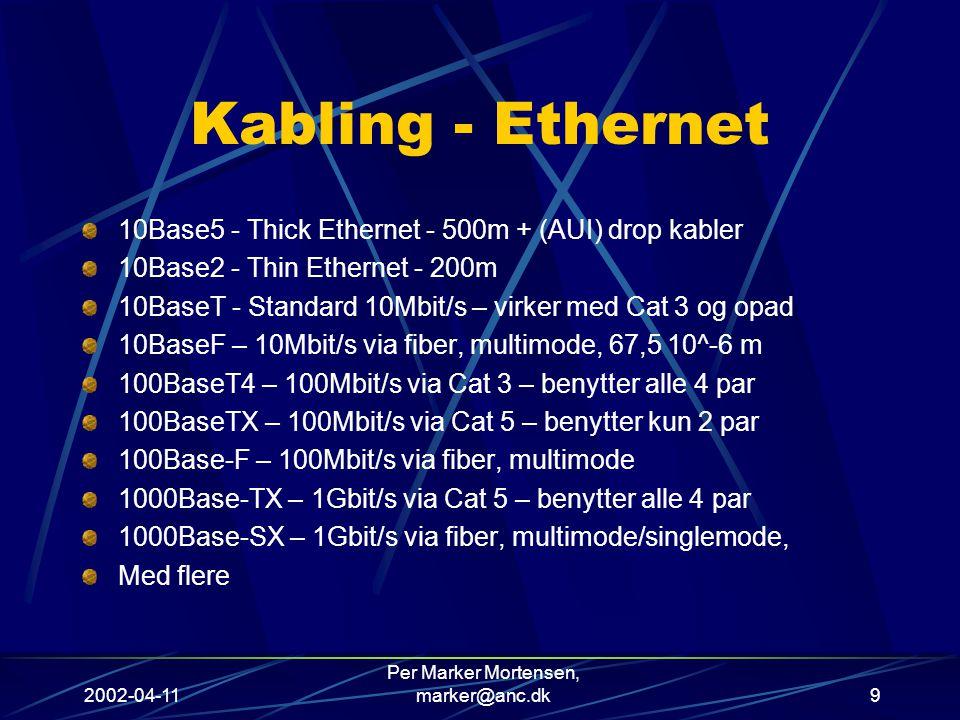 2002-04-11 Per Marker Mortensen, marker@anc.dk9 Kabling - Ethernet 10Base5 - Thick Ethernet - 500m + (AUI) drop kabler 10Base2 - Thin Ethernet - 200m 10BaseT - Standard 10Mbit/s – virker med Cat 3 og opad 10BaseF – 10Mbit/s via fiber, multimode, 67,5 10^-6 m 100BaseT4 – 100Mbit/s via Cat 3 – benytter alle 4 par 100BaseTX – 100Mbit/s via Cat 5 – benytter kun 2 par 100Base-F – 100Mbit/s via fiber, multimode 1000Base-TX – 1Gbit/s via Cat 5 – benytter alle 4 par 1000Base-SX – 1Gbit/s via fiber, multimode/singlemode, Med flere