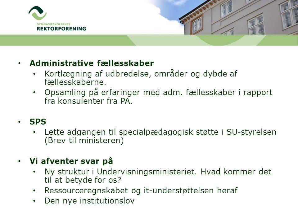 Administrative fællesskaber Kortlægning af udbredelse, områder og dybde af fællesskaberne.