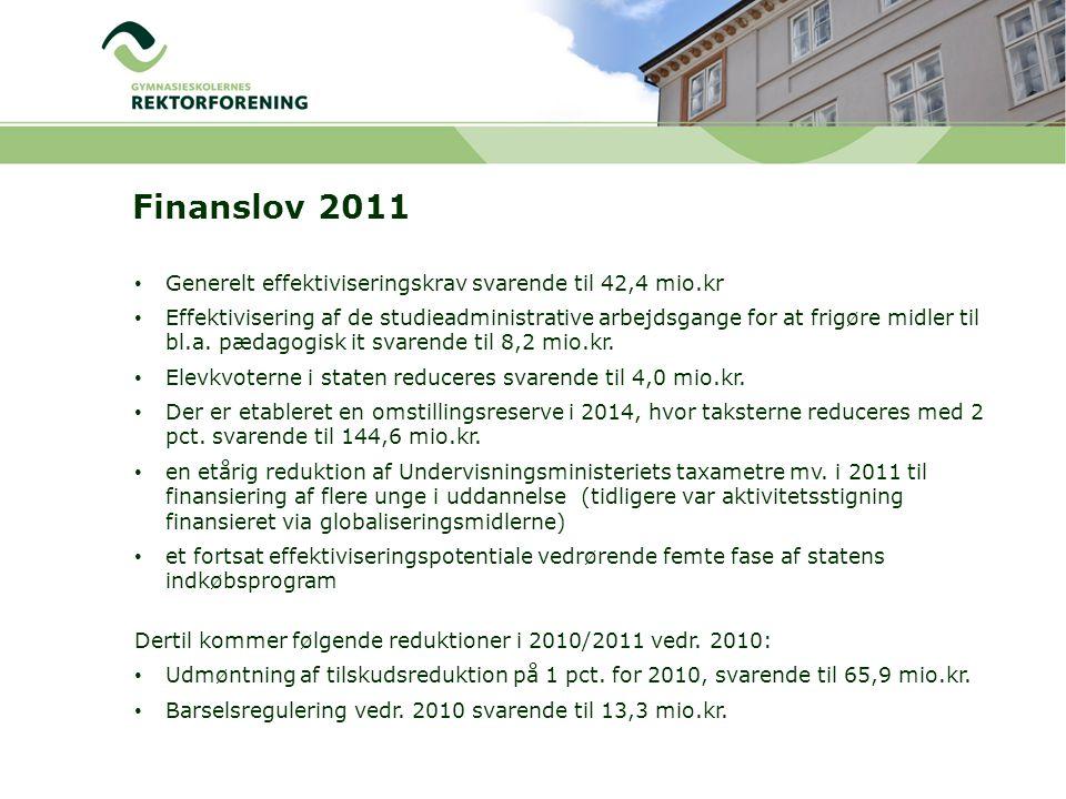 Finanslov 2011 Generelt effektiviseringskrav svarende til 42,4 mio.kr Effektivisering af de studieadministrative arbejdsgange for at frigøre midler til bl.a.