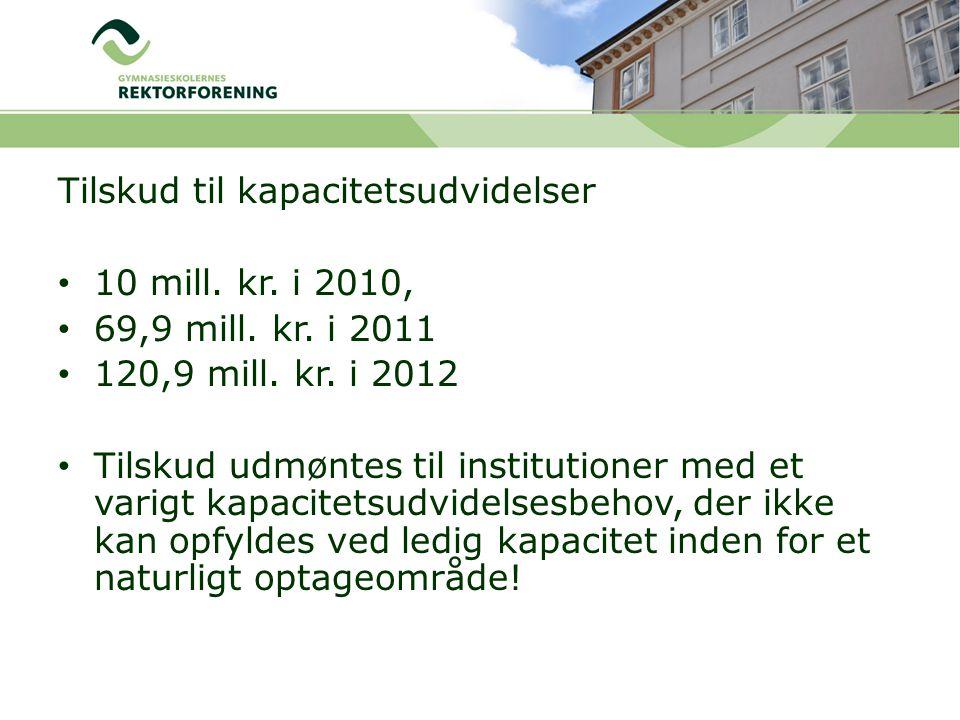Tilskud til kapacitetsudvidelser 10 mill. kr. i 2010, 69,9 mill.