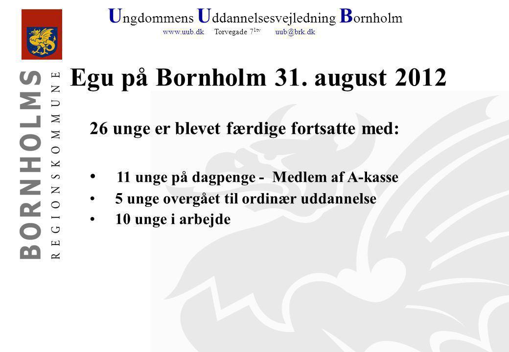 U ngdommens U ddannelsesvejledning B ornholm www.uub.dk Torvegade 7 1tv uub@brk.dk Egu på Bornholm 31.