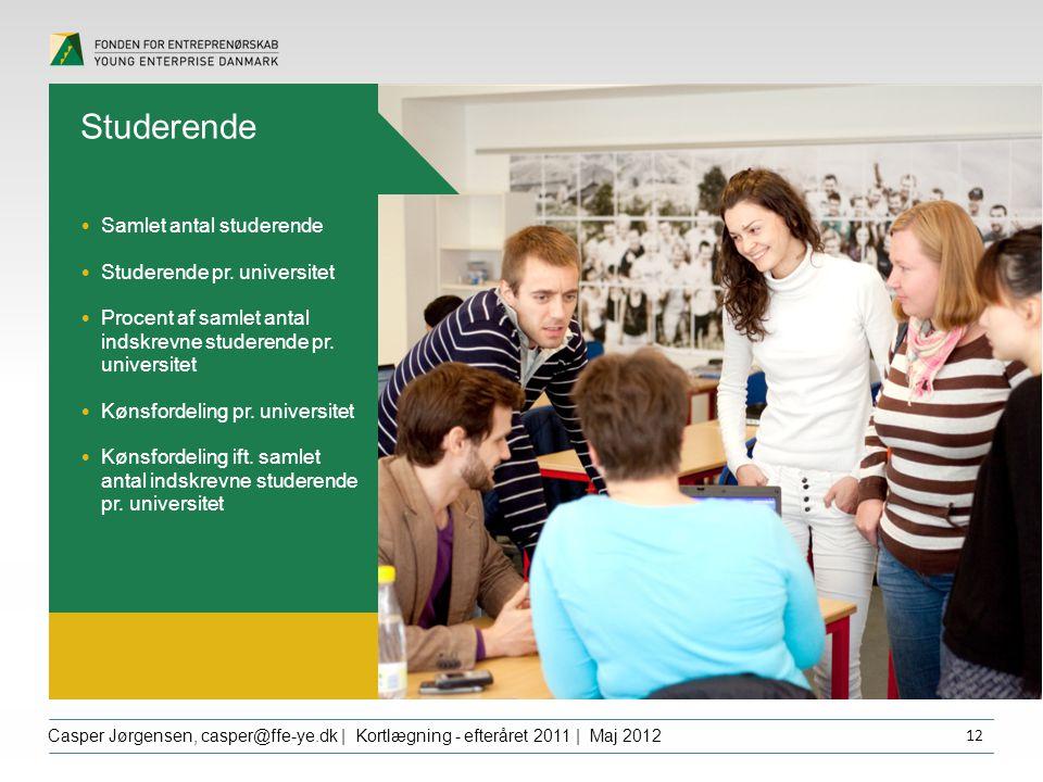 Overskrift dfgdffghfg Casper Jørgensen, casper@ffe-ye.dk | Kortlægning - efteråret 2011 | Maj 2012 12 Studerende Samlet antal studerende Studerende pr.