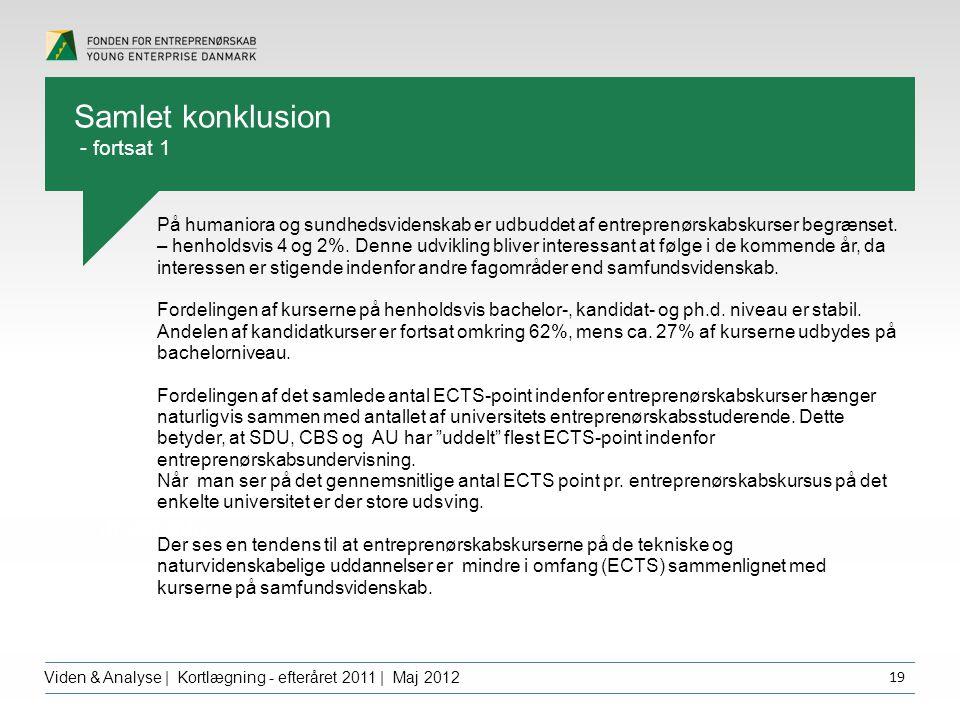 Overskrift dfgdffghfg Viden & Analyse | Kortlægning - efteråret 2011 | Maj 2012 19 På humaniora og sundhedsvidenskab er udbuddet af entreprenørskabskurser begrænset.