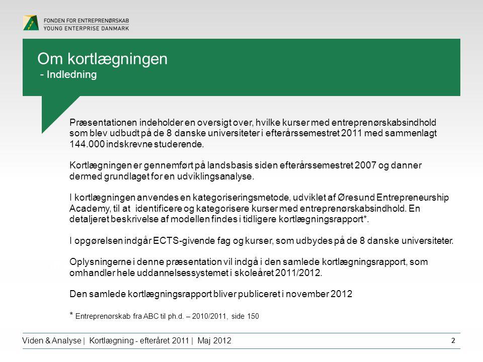 Overskrift dfgdffghfg Viden & Analyse | Kortlægning - efteråret 2011 | Maj 2012 2 Om kortlægningen - Indledning Præsentationen indeholder en oversigt over, hvilke kurser med entreprenørskabsindhold som blev udbudt på de 8 danske universiteter i efterårssemestret 2011 med sammenlagt 144.000 indskrevne studerende.