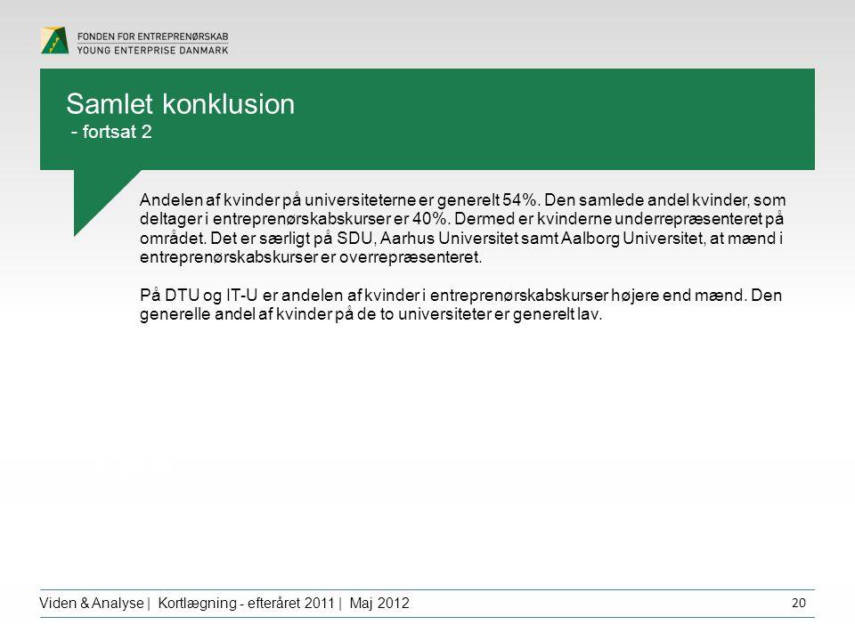 Overskrift dfgdffghfg Viden & Analyse | Kortlægning - efteråret 2011 | Maj 2012 20 Andelen af kvinder på universiteterne er generelt 54%.