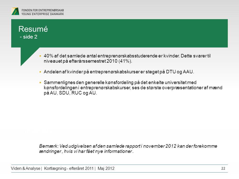 Overskrift dfgdffghfg Viden & Analyse | Kortlægning - efteråret 2011 | Maj 2012 22 40% af det samlede antal entreprenørskabsstuderende er kvinder.