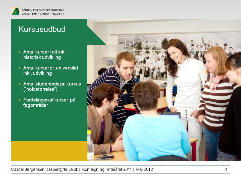 Overskrift dfgdffghfg Casper Jørgensen, casper@ffe-ye.dk | Kortlægning - efteråret 2011 | Maj 2012 3 Kursusudbud Antal kurser i alt inkl.