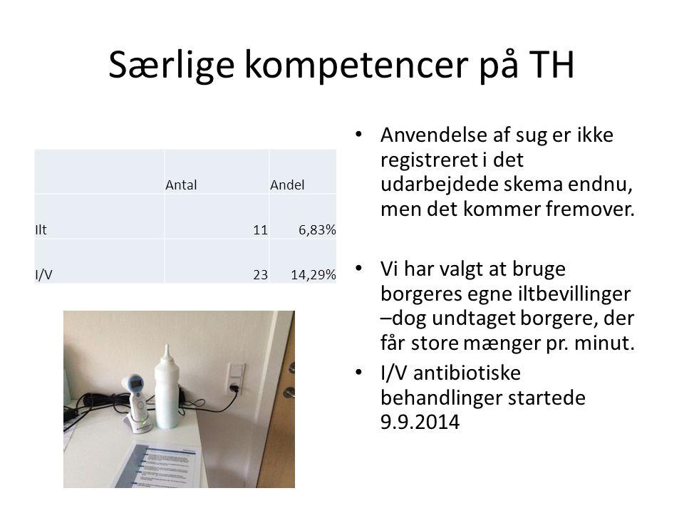 Særlige kompetencer på TH AntalAndel Ilt116,83% I/V2314,29% Anvendelse af sug er ikke registreret i det udarbejdede skema endnu, men det kommer fremover.