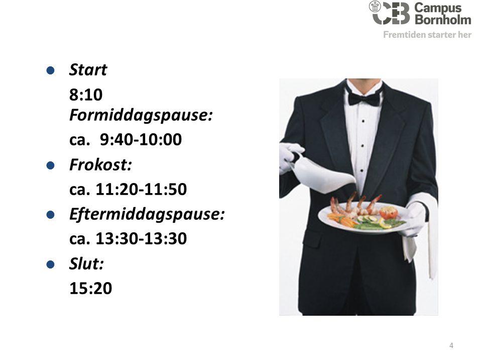 Start 8:10 Formiddagspause: ca. 9:40-10:00 Frokost: ca.