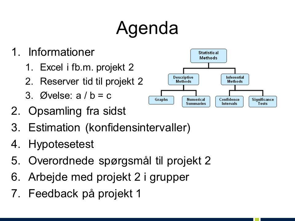 Agenda 1.Informationer 1.Excel i fb.m.