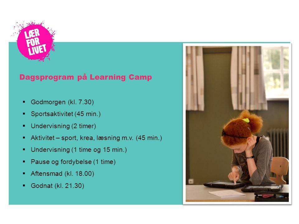 Dagsprogram på Learning Camp  Godmorgen (kl.