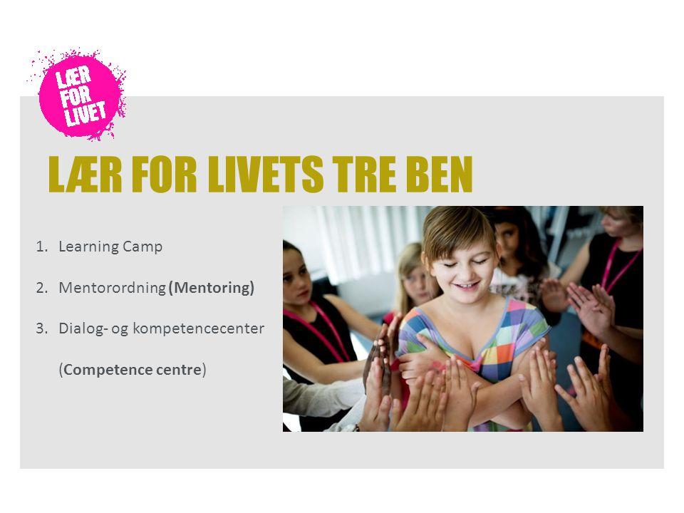 LÆR FOR LIVETS TRE BEN 1.Learning Camp 2.Mentorordning (Mentoring) 3.Dialog- og kompetencecenter (Competence centre)