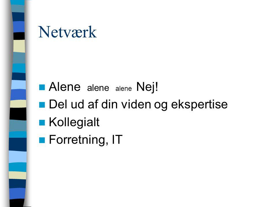 Netværk Alene alene alene Nej! Del ud af din viden og ekspertise Kollegialt Forretning, IT