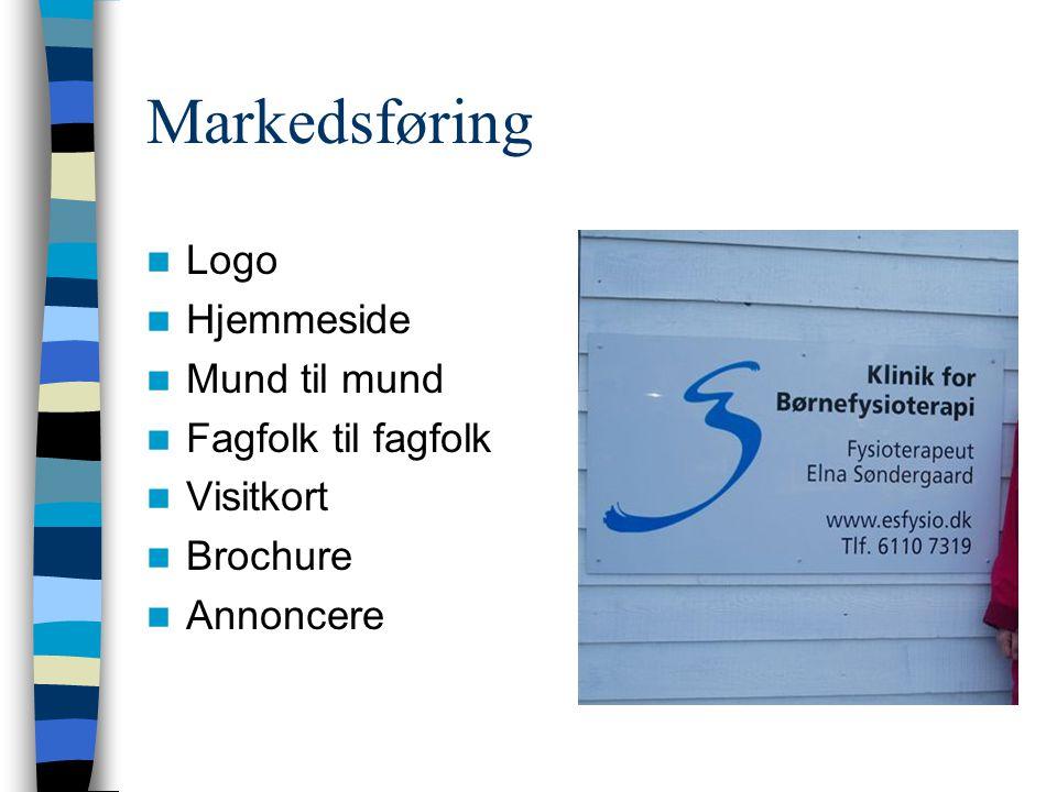 Markedsføring Logo Hjemmeside Mund til mund Fagfolk til fagfolk Visitkort Brochure Annoncere