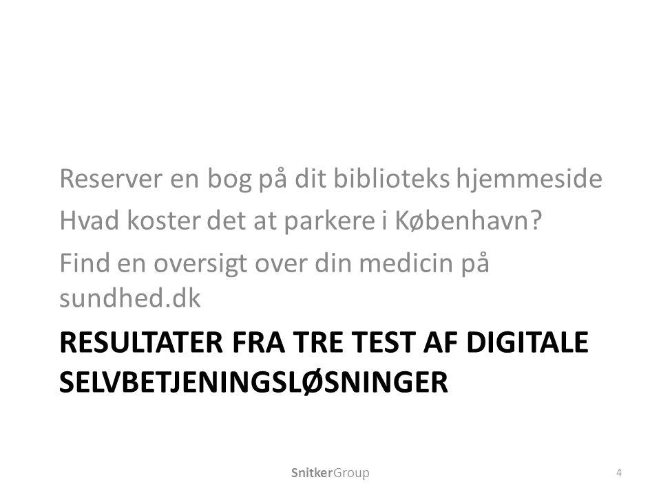 RESULTATER FRA TRE TEST AF DIGITALE SELVBETJENINGSLØSNINGER Reserver en bog på dit biblioteks hjemmeside Hvad koster det at parkere i København.