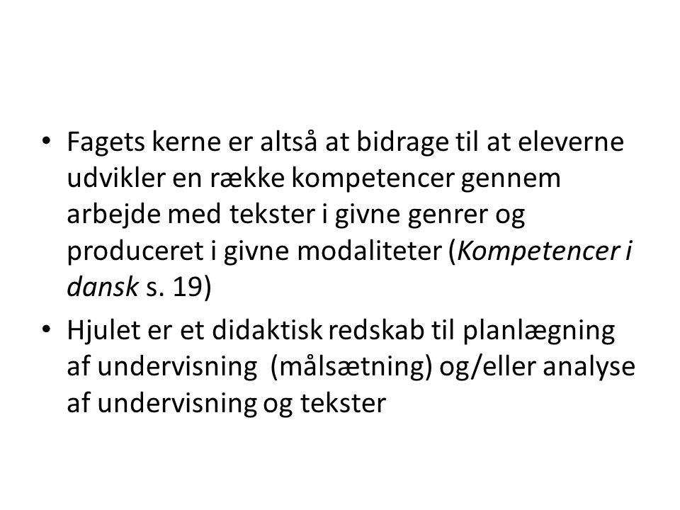 Fagets kerne er altså at bidrage til at eleverne udvikler en række kompetencer gennem arbejde med tekster i givne genrer og produceret i givne modaliteter (Kompetencer i dansk s.