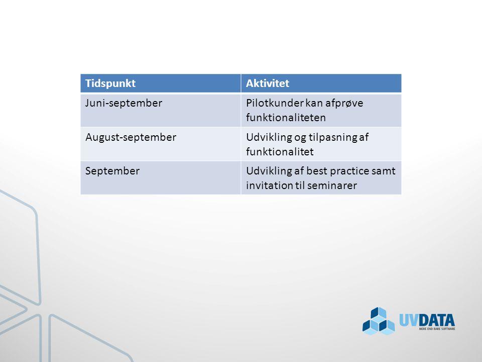 TidspunktAktivitet Juni-septemberPilotkunder kan afprøve funktionaliteten August-septemberUdvikling og tilpasning af funktionalitet SeptemberUdvikling af best practice samt invitation til seminarer