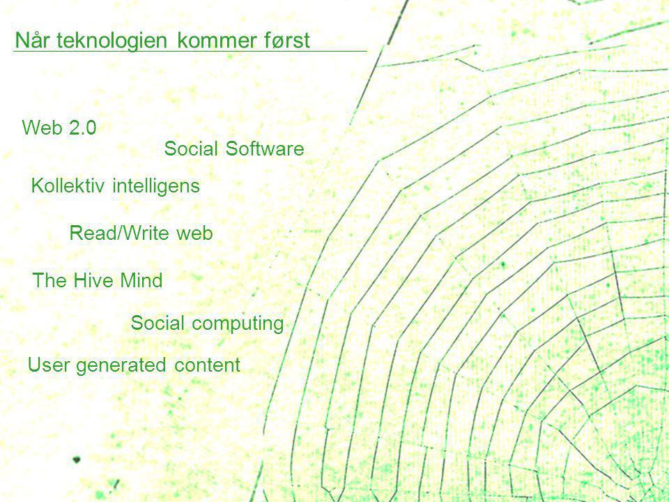 Når teknologien kommer først Web 2.0 Social Software Kollektiv intelligens Read/Write web The Hive Mind Social computing User generated content