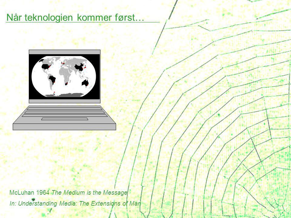 Når teknologien kommer først… McLuhan 1964 The Medium is the Message In: Understanding Media: The Extensions of Man