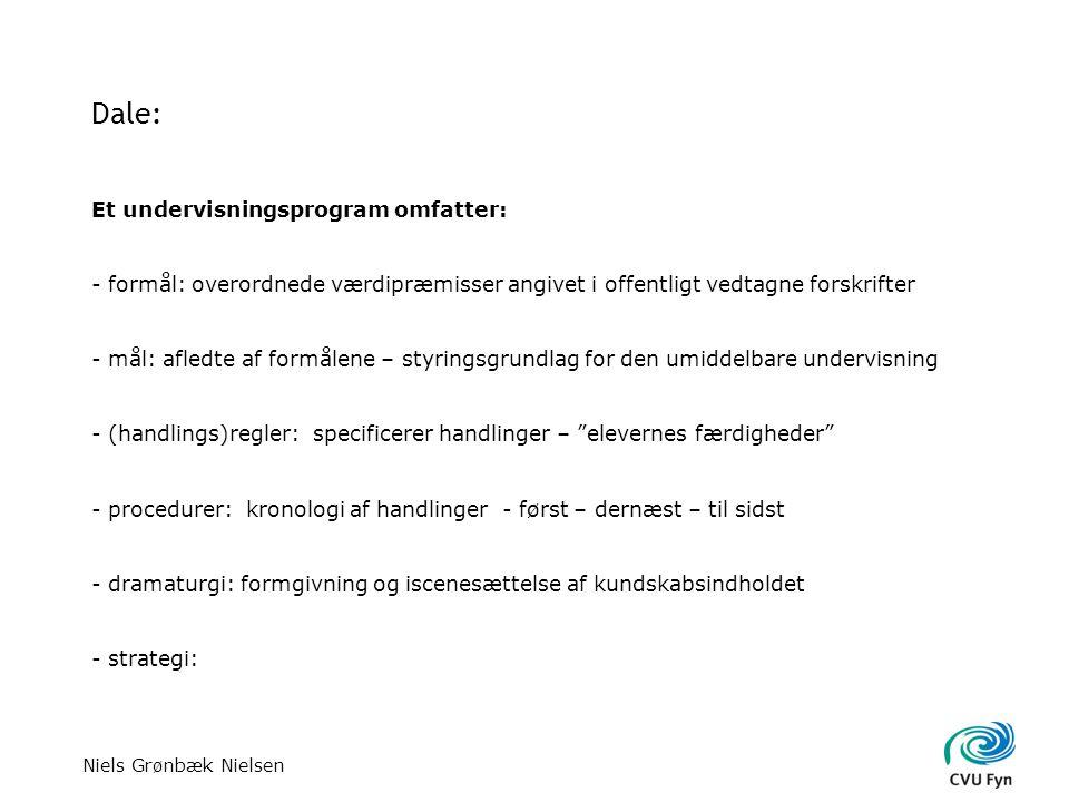 Niels Grønbæk Nielsen Dale: Et undervisningsprogram omfatter: - formål: overordnede værdipræmisser angivet i offentligt vedtagne forskrifter - mål: afledte af formålene – styringsgrundlag for den umiddelbare undervisning - (handlings)regler: specificerer handlinger – elevernes færdigheder - procedurer: kronologi af handlinger - først – dernæst – til sidst - dramaturgi: formgivning og iscenesættelse af kundskabsindholdet - strategi: