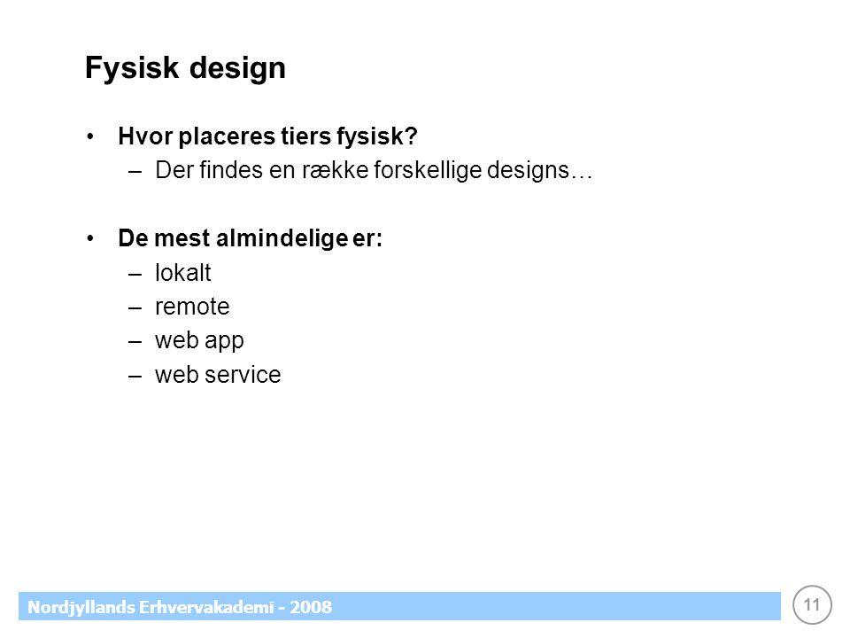 11 Nordjyllands Erhvervakademi - 2008 Fysisk design Hvor placeres tiers fysisk.
