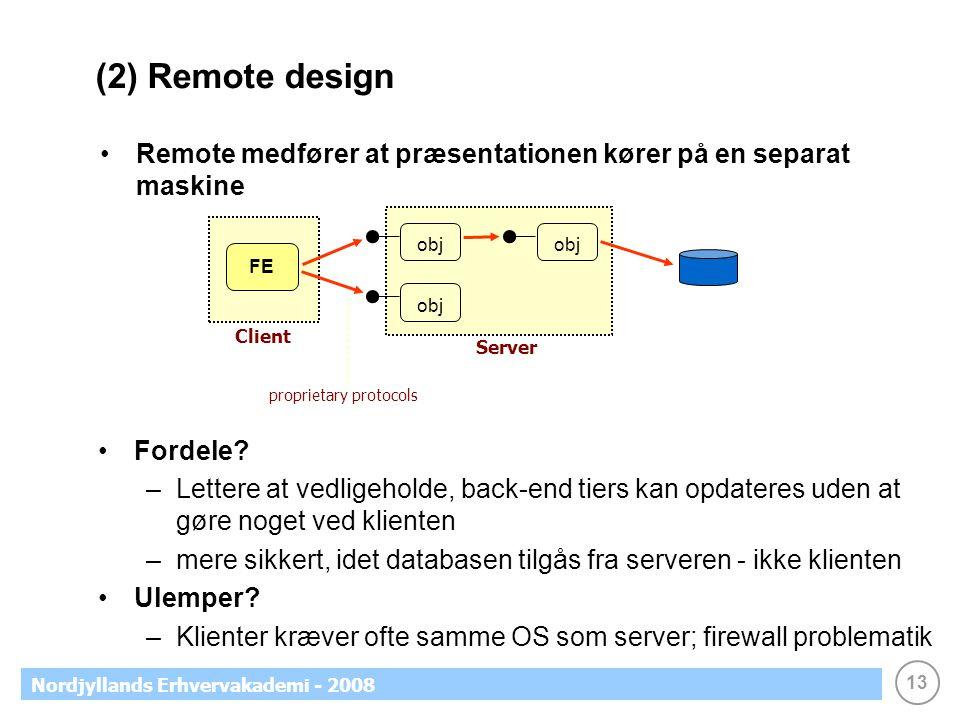 13 Nordjyllands Erhvervakademi - 2008 (2) Remote design Remote medfører at præsentationen kører på en separat maskine FE obj Fordele.