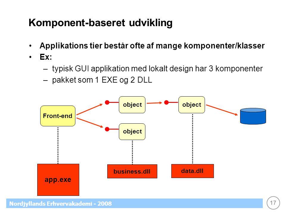 17 Nordjyllands Erhvervakademi - 2008 Komponent-baseret udvikling Applikations tier består ofte af mange komponenter/klasser Ex: –typisk GUI applikation med lokalt design har 3 komponenter –pakket som 1 EXE og 2 DLL Front-end object app.exe business.dll data.dll