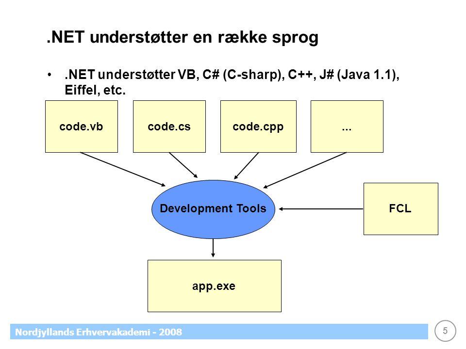 5 Nordjyllands Erhvervakademi - 2008.NET understøtter en række sprog.NET understøtter VB, C# (C-sharp), C++, J# (Java 1.1), Eiffel, etc.