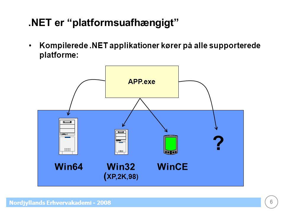 6 Nordjyllands Erhvervakademi - 2008.NET er platformsuafhængigt Kompilerede.NET applikationer kører på alle supporterede platforme: APP.exe .