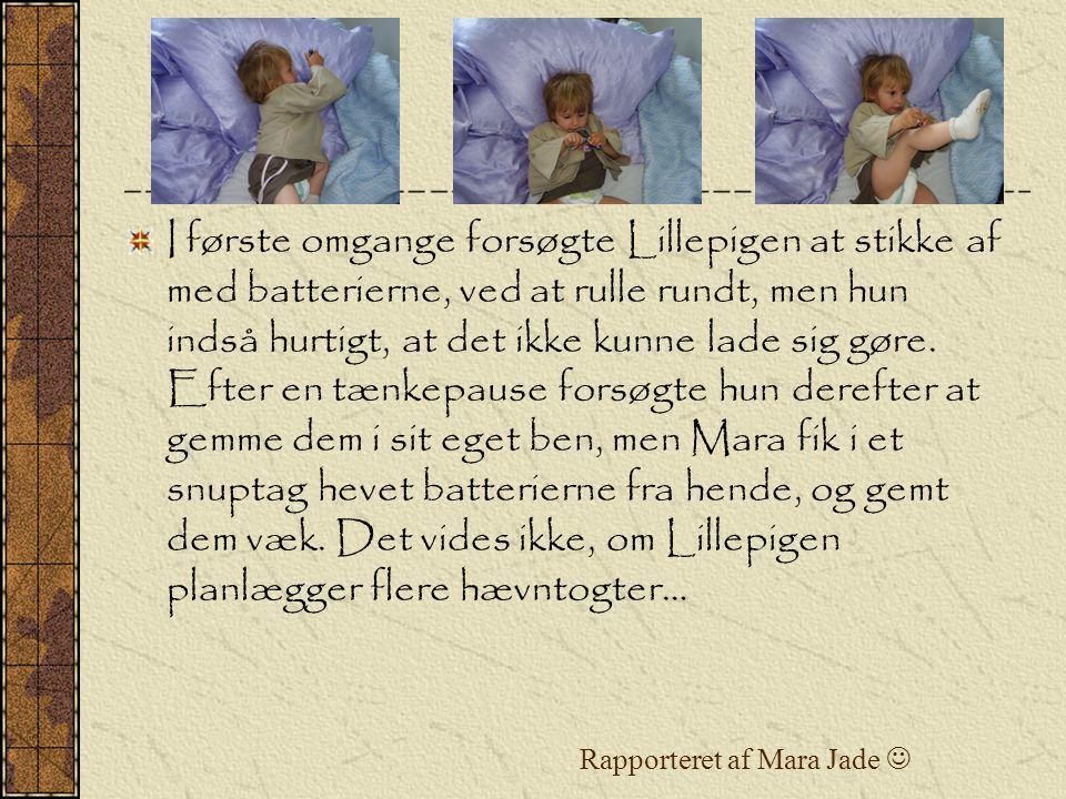 Rapporteret af Mara Jade I første omgange forsøgte Lillepigen at stikke af med batterierne, ved at rulle rundt, men hun indså hurtigt, at det ikke kunne lade sig gøre.