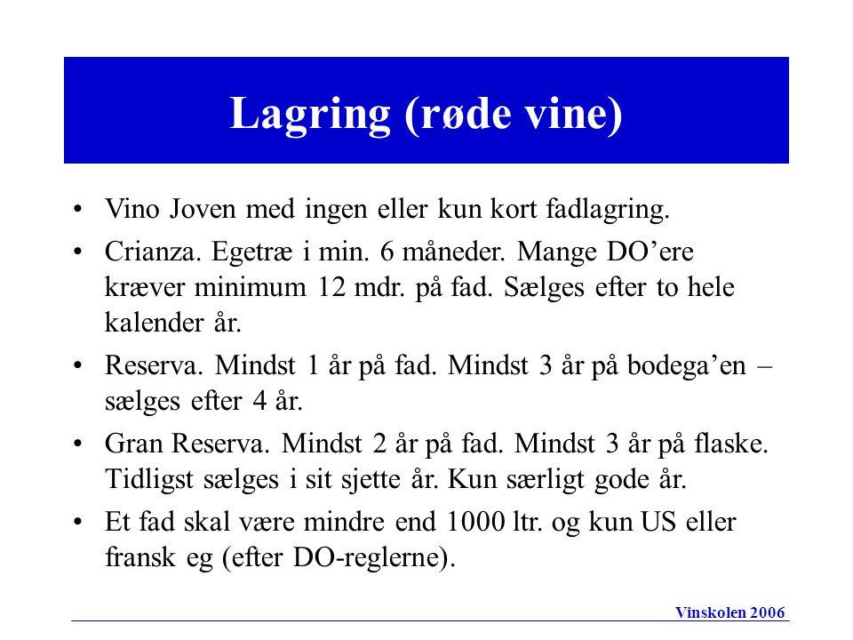 Lagring (røde vine) Vino Joven med ingen eller kun kort fadlagring.
