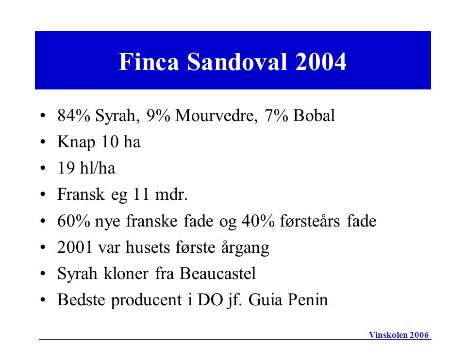 84% Syrah, 9% Mourvedre, 7% Bobal Knap 10 ha 19 hl/ha Fransk eg 11 mdr.