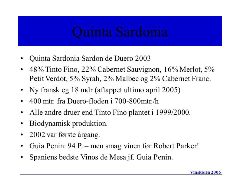 Quinta Sardonia Quinta Sardonia Sardon de Duero 2003 48% Tinto Fino, 22% Cabernet Sauvignon, 16% Merlot, 5% Petit Verdot, 5% Syrah, 2% Malbec og 2% Cabernet Franc.