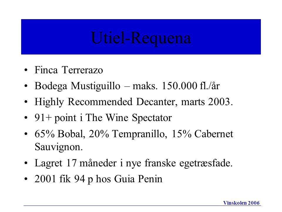 Finca Terrerazo Bodega Mustiguillo – maks. 150.000 fl./år Highly Recommended Decanter, marts 2003.