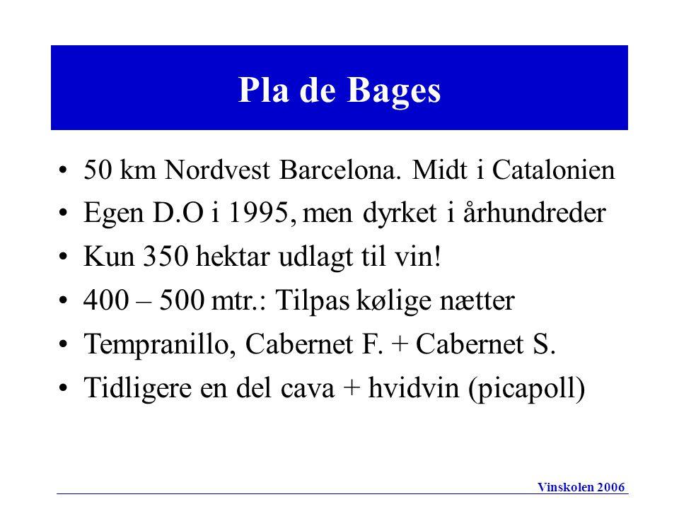 Pla de Bages 50 km Nordvest Barcelona.