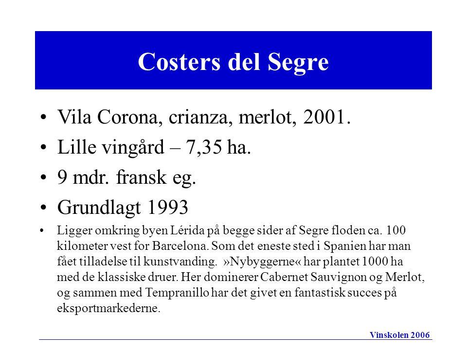 Costers del Segre Vila Corona, crianza, merlot, 2001.