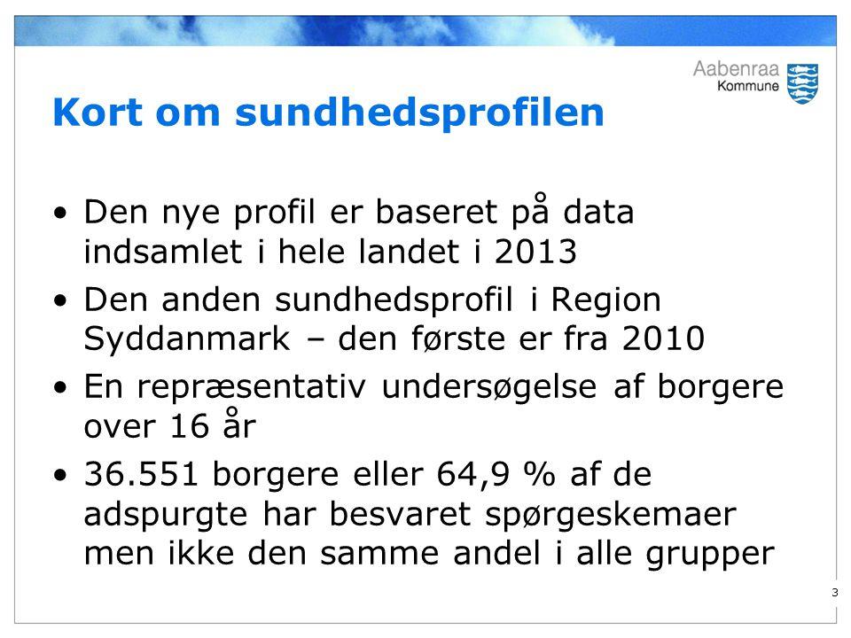 Kort om sundhedsprofilen Den nye profil er baseret på data indsamlet i hele landet i 2013 Den anden sundhedsprofil i Region Syddanmark – den første er fra 2010 En repræsentativ undersøgelse af borgere over 16 år 36.551 borgere eller 64,9 % af de adspurgte har besvaret spørgeskemaer men ikke den samme andel i alle grupper 3