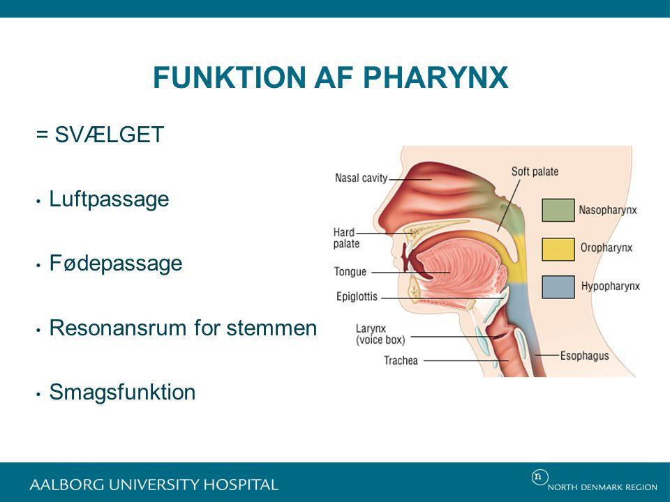 FUNKTION AF PHARYNX = SVÆLGET Luftpassage Fødepassage Resonansrum for stemmen Smagsfunktion