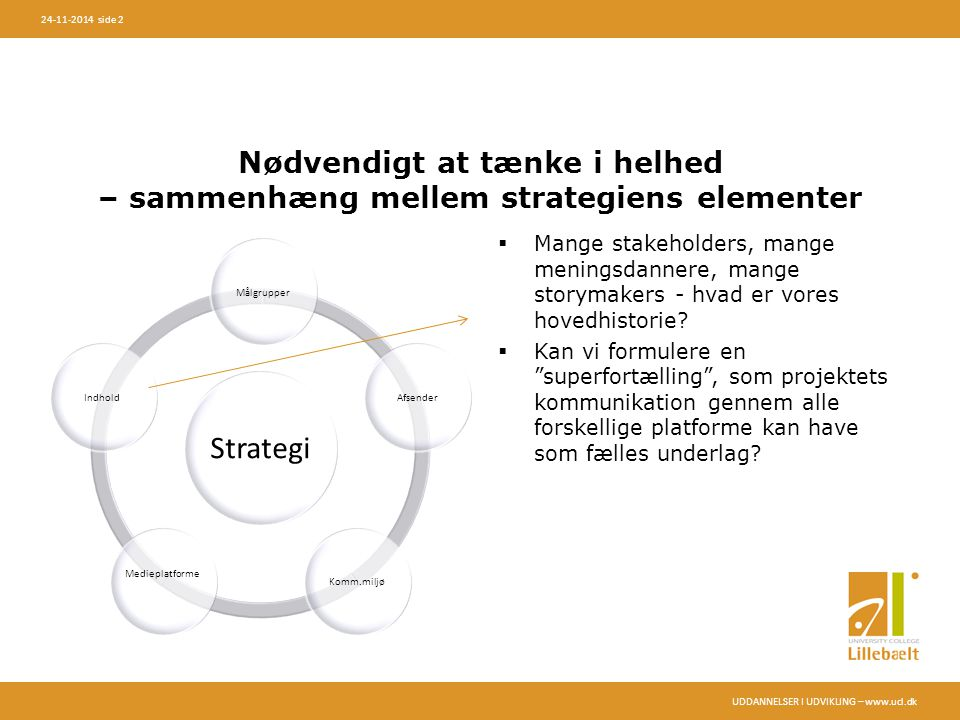 UDDANNELSER I UDVIKLING – www.ucl.dk 24-11-2014 side 2 Nødvendigt at tænke i helhed – sammenhæng mellem strategiens elementer Strategi MålgrupperAfsenderKomm.miljø Medieplatforme Indhold  Mange stakeholders, mange meningsdannere, mange storymakers - hvad er vores hovedhistorie.