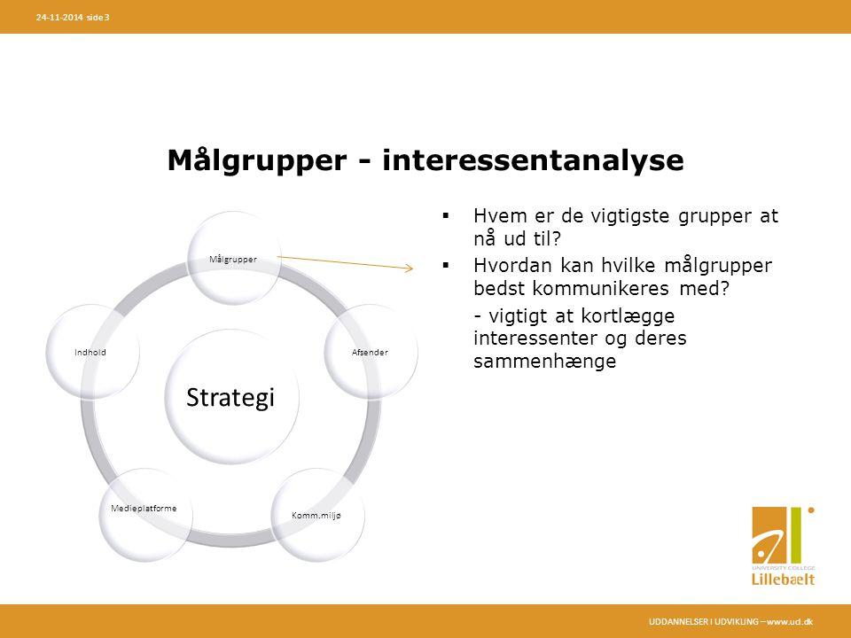 UDDANNELSER I UDVIKLING – www.ucl.dk 24-11-2014 side 3 Målgrupper - interessentanalyse  Hvem er de vigtigste grupper at nå ud til.