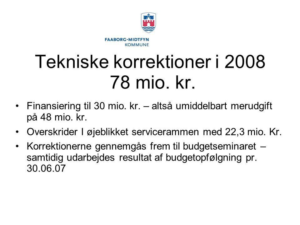 Tekniske korrektioner i 2008 78 mio. kr. Finansiering til 30 mio.