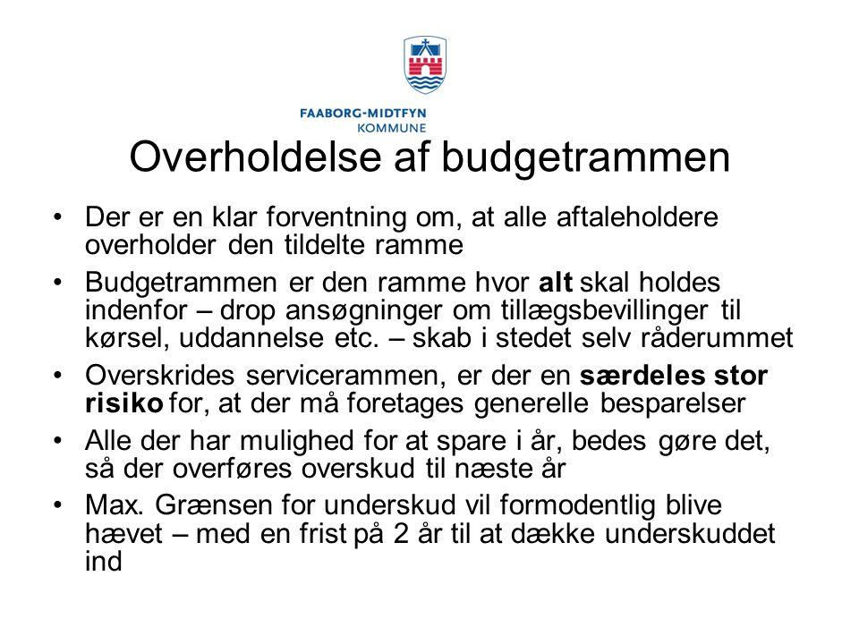Overholdelse af budgetrammen Der er en klar forventning om, at alle aftaleholdere overholder den tildelte ramme Budgetrammen er den ramme hvor alt skal holdes indenfor – drop ansøgninger om tillægsbevillinger til kørsel, uddannelse etc.