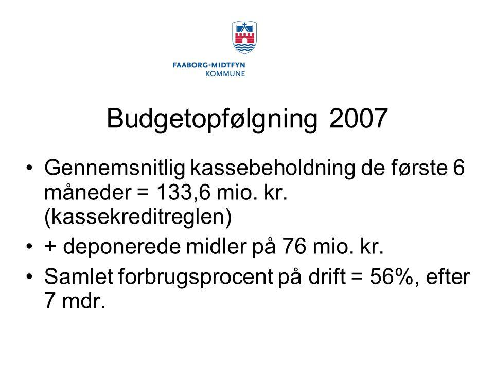 Budgetopfølgning 2007 Gennemsnitlig kassebeholdning de første 6 måneder = 133,6 mio.