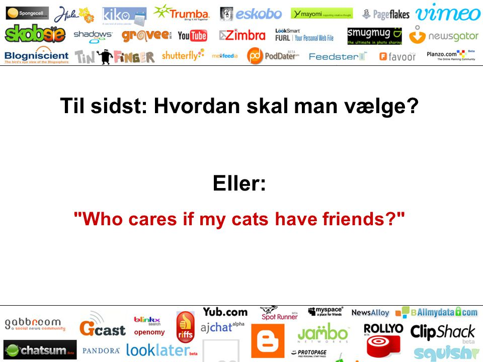 Til sidst: Hvordan skal man vælge Eller: Who cares if my cats have friends