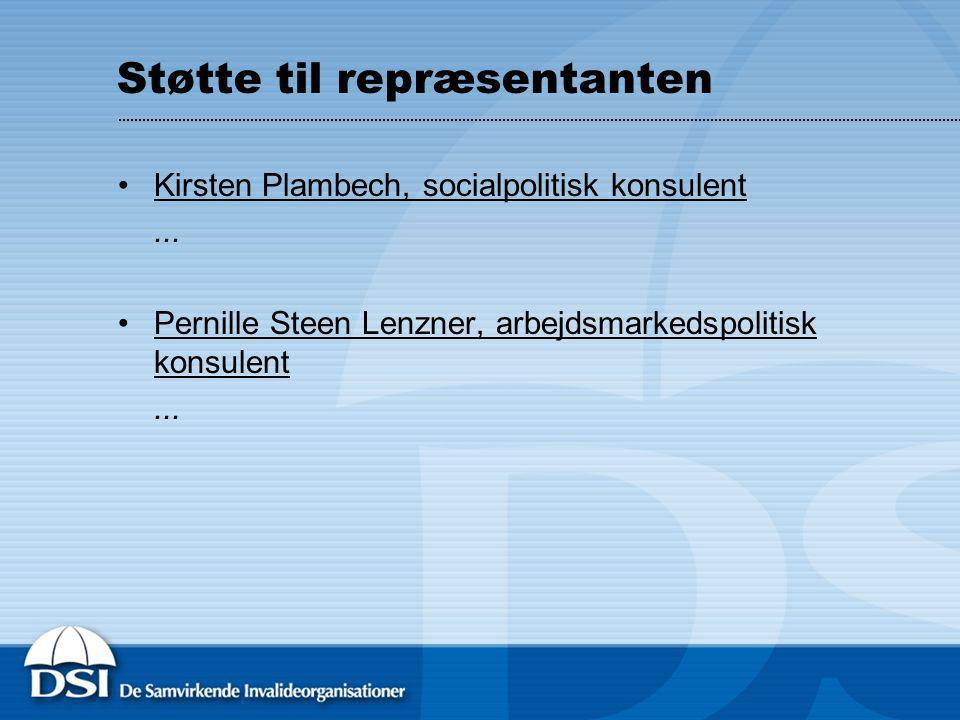 Støtte til repræsentanten Kirsten Plambech, socialpolitisk konsulent...