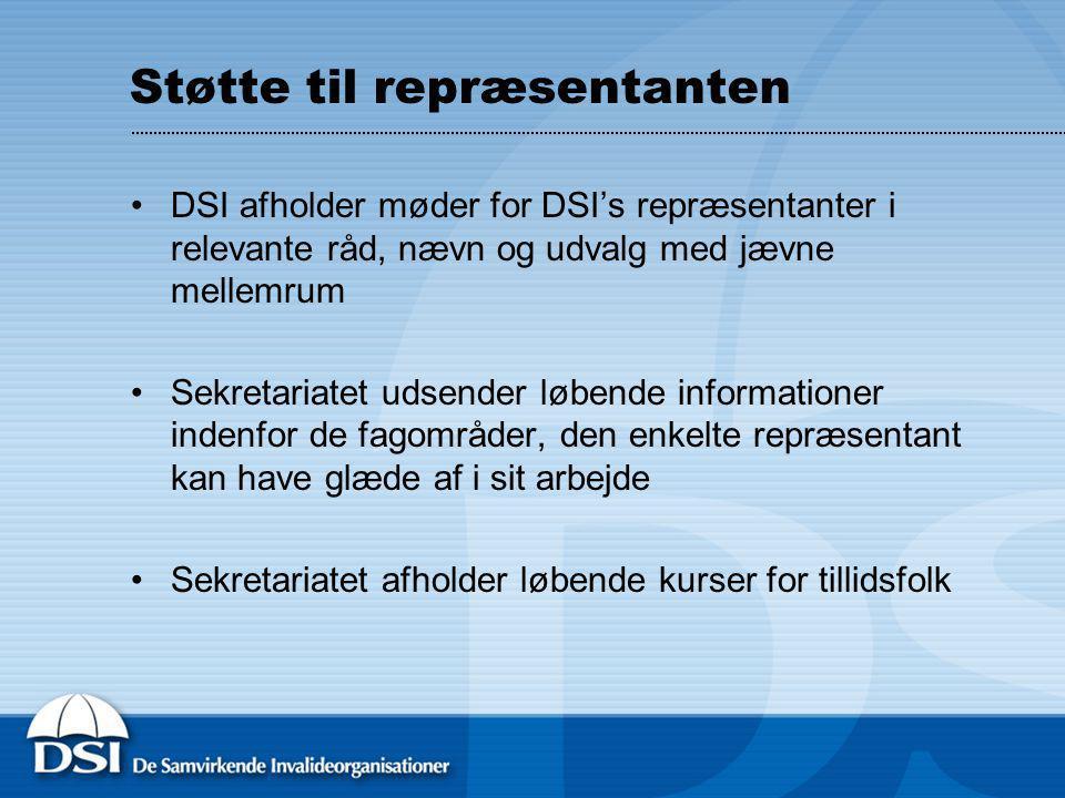 Støtte til repræsentanten DSI afholder møder for DSI's repræsentanter i relevante råd, nævn og udvalg med jævne mellemrum Sekretariatet udsender løbende informationer indenfor de fagområder, den enkelte repræsentant kan have glæde af i sit arbejde Sekretariatet afholder løbende kurser for tillidsfolk